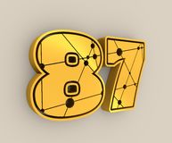 87 number illustration. Classic style Sport Team font. Numbers decorated by lines and dots pattern. 3D rendering. Golden metallic material Stock Illustration