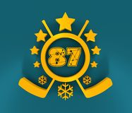 87 number illustration. Classic style Sport Team font. Numbers decorated by lines and dots pattern. 3D rendering. Golden metallic material. Ice Hockey Emblem Vector Illustration