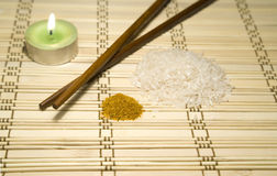 Number of ingredients. On the wooden mat Stock Photography