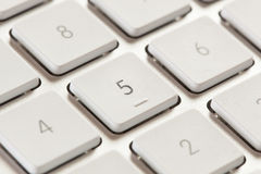 Number Keypad on a White and Grey Computer Keyboard Stock Photography