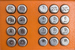 The number keys. Number keys on orange background Stock Photos