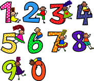 Number Kids. A cute cartoon doodle set of little stick kids climbing over numbers Royalty Free Stock Image