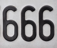 Number 666. Is known as the number of the beast, meaning devil, from chapter 13 of the Book of Revelation, in the New Testament in the Bible Stock Image