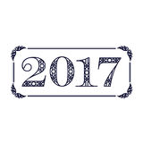 Number 2017 label. Black 2017 year numbers with decorative frame Royalty Free Stock Photography