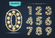 Number lamp template, set of numbers logo or icon Royalty Free Stock Photography