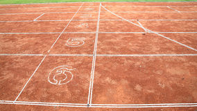 Number on lanes at start running track Royalty Free Stock Image