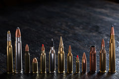 Number of large-caliber ammunition with different Stock Photography