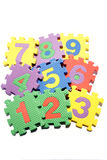 Number learning blocks. Isolated over white stock images