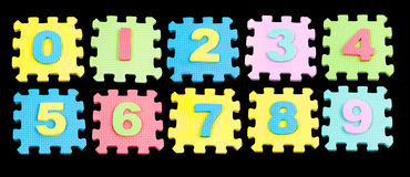 Number learning blocks isolated black Stock Photos