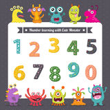 Number learning with cute monster Royalty Free Stock Photos