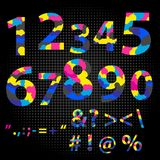 Number letter polygon concept. Number one to nine letter. Numbers Sign Set Vector. cmyk font typeface. Figures 1, 2, 3, 4 5 6 7 8 9 0 Made from overlayed Cyan Stock Images