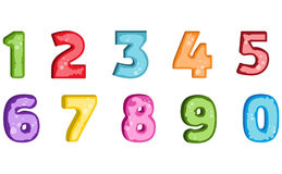 Number letter polygon concept. Number one to nine letter. Stock Photos
