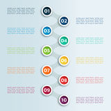 Number Linked Bullet Points In Circles  Infographic Template. 3d Number Steps Infographic 1 to 10 bullet points in circles with links between, space for text and Stock Image