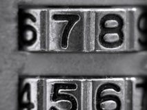 Number Lock. Extreme closeup of the digits on a padlock Stock Photo