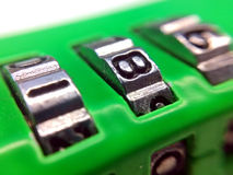 Number Lock. Macro shot of the numbers on a combination lock Royalty Free Stock Photography