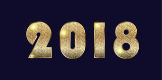 2018 number. Logo design, gold glitter texture, glow light effect, shiny sparkles. 2018 Vector template for Happy New Year Event, festive background, Holiday Royalty Free Stock Photography