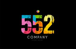 552 number grunge color rainbow numeral digit logo. Number 552 logo icon design with grunge texture and rainbow colored pattern Stock Image