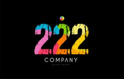 222 number grunge color rainbow numeral digit logo. Number 222 logo icon design with grunge texture and rainbow colored pattern Stock Photo