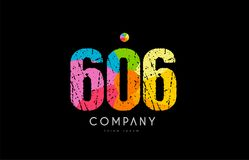 606 number grunge color rainbow numeral digit logo. Number 606 logo icon design with grunge texture and rainbow colored pattern Royalty Free Stock Photo