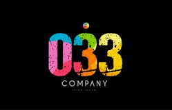 033 number grunge color rainbow numeral digit logo. Number 033 logo icon design with grunge texture and rainbow colored pattern royalty free illustration