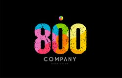 800 number grunge color rainbow numeral digit logo. Number 800 logo icon design with grunge texture and rainbow colored pattern Stock Image