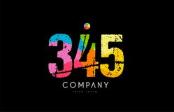 345 number grunge color rainbow numeral digit logo. Number 345 logo icon design with grunge texture and rainbow colored pattern Royalty Free Stock Photography