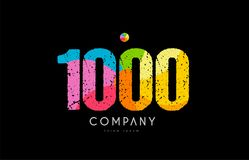 1000 number grunge color rainbow numeral digit logo. Number 1000 logo icon design with grunge texture and rainbow colored pattern royalty free illustration