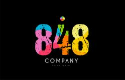 848 number grunge color rainbow numeral digit logo. Number 848 logo icon design with grunge texture and rainbow colored pattern Stock Images