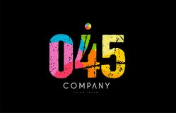 045 number grunge color rainbow numeral digit logo. Number 045 logo icon design with grunge texture and rainbow colored pattern Stock Image