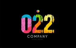 022 number grunge color rainbow numeral digit logo. Number 022 logo icon design with grunge texture and rainbow colored pattern Stock Image