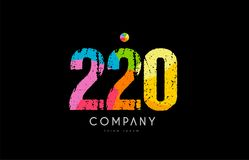 220 number grunge color rainbow numeral digit logo Stock Photos