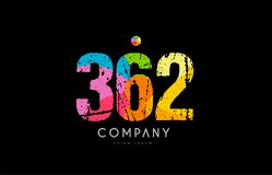 362 number grunge color rainbow numeral digit logo. Number 362 logo icon design with grunge texture and rainbow colored pattern Stock Photo