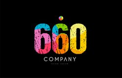 660 number grunge color rainbow numeral digit logo. Number 660 logo icon design with grunge texture and rainbow colored pattern Royalty Free Stock Photos