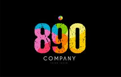 890 number grunge color rainbow numeral digit logo. Number 890 logo icon design with grunge texture and rainbow colored pattern Stock Images