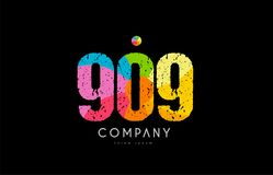 909 number grunge color rainbow numeral digit logo. Number 909 logo icon design with grunge texture and rainbow colored pattern Stock Images