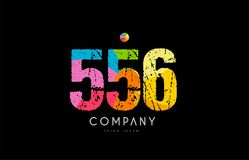 556 number grunge color rainbow numeral digit logo. Number 556 logo icon design with grunge texture and rainbow colored pattern Royalty Free Stock Images