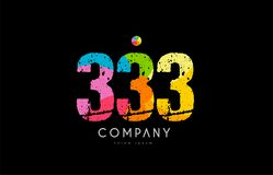 333 number grunge color rainbow numeral digit logo. Number 333 logo icon design with grunge texture and rainbow colored pattern Royalty Free Stock Photo