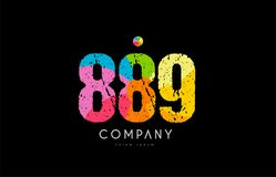889 number grunge color rainbow numeral digit logo. Number 889 logo icon design with grunge texture and rainbow colored pattern Royalty Free Stock Photos