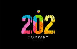 202 number grunge color rainbow numeral digit logo. Number 202 logo icon design with grunge texture and rainbow colored pattern vector illustration