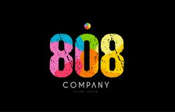 808 number grunge color rainbow numeral digit logo. Number 808 logo icon design with grunge texture and rainbow colored pattern Stock Image