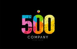 500 number grunge color rainbow numeral digit logo. Number 500 logo icon design with grunge texture and rainbow colored pattern Royalty Free Stock Photo