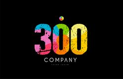 300 number grunge color rainbow numeral digit logo. Number 300 logo icon design with grunge texture and rainbow colored pattern Stock Image