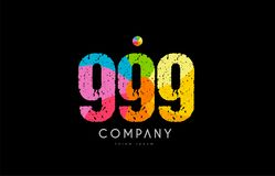 999 number grunge color rainbow numeral digit logo. Number 999 logo icon design with grunge texture and rainbow colored pattern Royalty Free Stock Photo