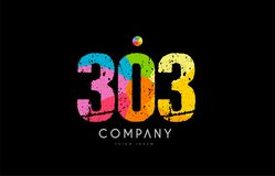 303 number grunge color rainbow numeral digit logo. Number 303 logo icon design with grunge texture and rainbow colored pattern Royalty Free Stock Photo