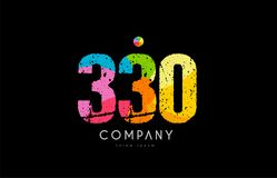 330 number grunge color rainbow numeral digit logo. Number 330 logo icon design with grunge texture and rainbow colored pattern Stock Images