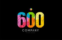 600 number grunge color rainbow numeral digit logo. Number 600 logo icon design with grunge texture and rainbow colored pattern Stock Images