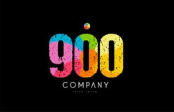 900 number grunge color rainbow numeral digit logo. Number 900 logo icon design with grunge texture and rainbow colored pattern Royalty Free Stock Image