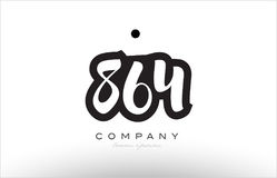 864 number logo icon template design. 864 number black white bold logo vector creative company icon design template hand written background Stock Photography