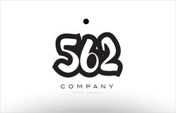 562 number logo icon template design. 562 number black white bold logo vector creative company icon design template hand written background Stock Image