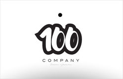 100 number logo icon template design. 100 number black white bold logo vector creative company icon design template hand written background Royalty Free Stock Photography